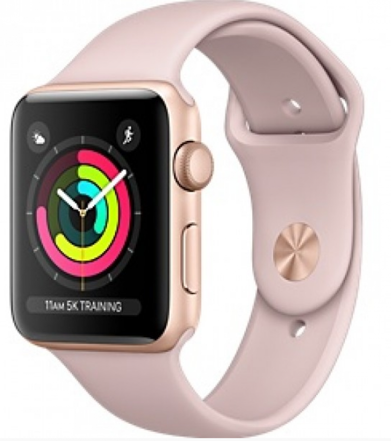 size 40 823b8 3f6f9 Apple Watch Series 4 - 44mm Gold Aluminum Case with Pink/black silver Sand  Sport Band (MU6F2)
